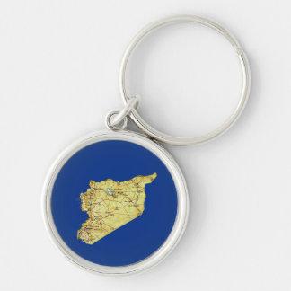 Syrien karta Keychain Rund Silverfärgad Nyckelring