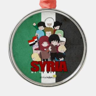 SYRIEN - vi är med dig Rund Silverfärgad Julgransprydnad