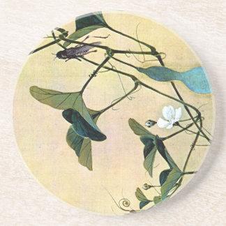Syrsa på en japansk träklosskonst Ukiyo-E för Vine Underlägg