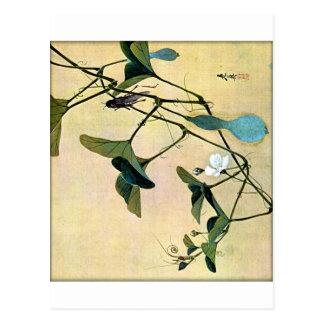 Syrsa på en japansk träklosskonst Ukiyo-E för Vine Vykort