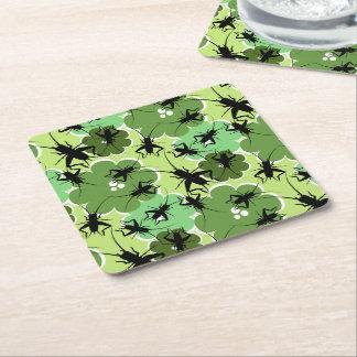 Syrsablommönstergrönt + Svart Underlägg Papper Kvadrat