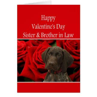 Syster & broder i glansig Grizzlyvalentin för lag Hälsningskort