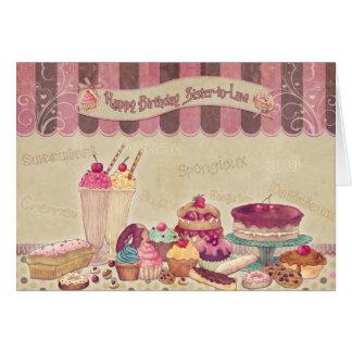 Syster i lag - födelsedagkort - tårtor och hälsningskort