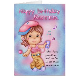 Systerfödelsedagkort - gullig flicka med musik hälsnings kort