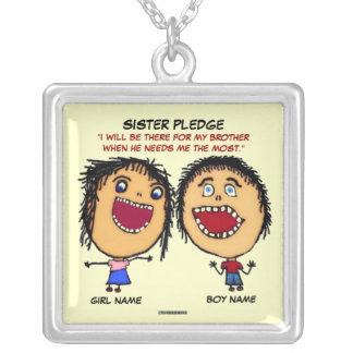 Systerlöfte Silverpläterat Halsband