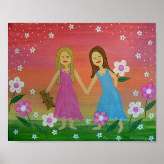 Systrar vänner - konst för liten flickaungevägg print