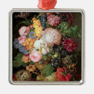T30763 per stilleben av blommor och frukt julgransprydnad metall