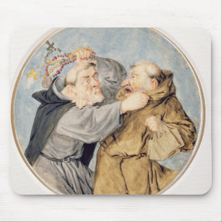 T31130 två munkar som slåss, 1690 (w/c, bläck, kri musmatta