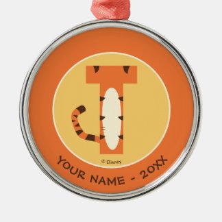 T är för Tigger   tillfogar ditt namn Julgransprydnad Metall