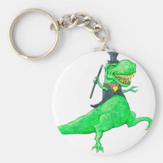 T-Rex i top hat och svanar Rund Nyckelring