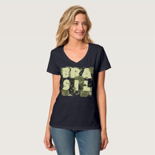 T-shirt Brasil em Flores