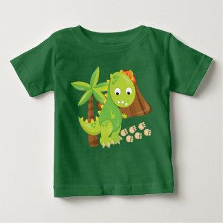 T-skjorta för gullig dinosaur- och vulkanpojke t-shirts