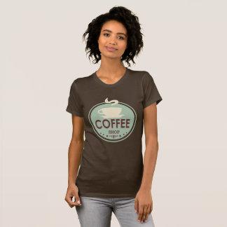 T-skjorta för konst för vintagecoffee shopord tröja