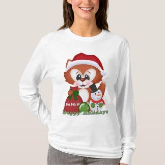 T-skjorta för tecknad för julrävhelgdag