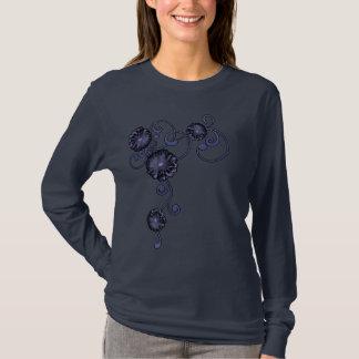 T-tröja för damer för denim- och daisyAppliquestil Tröja