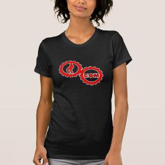 T-tröja för damer för EBM Logo_3 liten och nätt