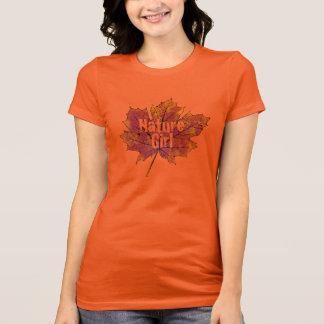 T-tröja för design för lönnlövnaturflicka tee shirt