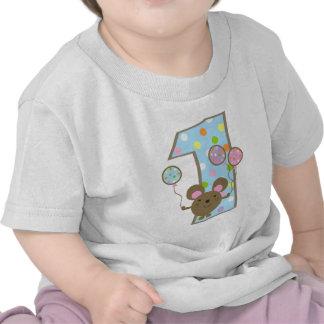 T-tröja för födelsedag för ballongmusblått 1st