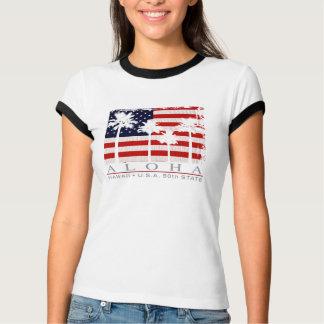 T-tröja för handflatanflaggaHawaii damer Tee Shirts