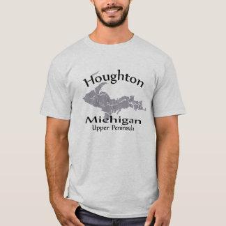 T-tröja för Houghton Michigan kartadesign T Shirts