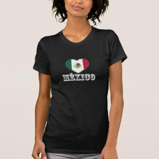 T-tröja för Mexico hjärtasvart för kvinnor Tee Shirts