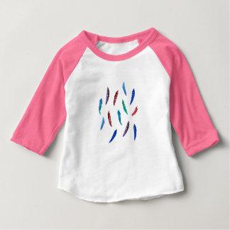 T-tröja för Raglan för vattenfärgfjäderbaby T Shirt
