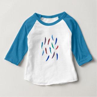 T-tröja för Raglan för vattenfärgfjäderbaby T Shirts