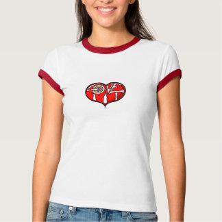 T-tröja för Ringer för damer för kärlekgroplogotyp T Shirt