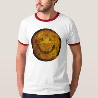 T-tröja för smiley face för vintageGrunge lycklig Tröjor