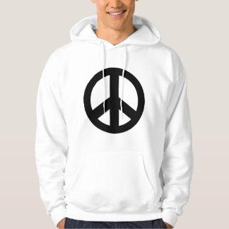 T-tröja för svart för fredsteckenfredsymbol sweatshirt med luva