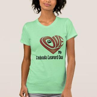 T-tröja kvinna kärlek min Catahoula Leopardhund Tröja