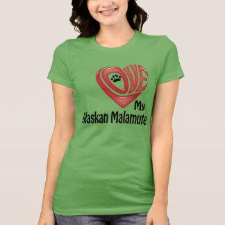T-tröja kvinnor: Älska min alaskabo Malamute
