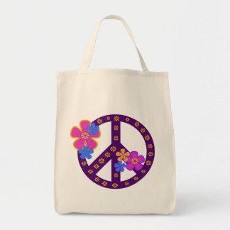 T-tröja och gåvor för blommafredsymbol tygkasse