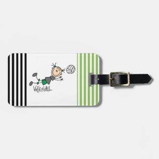 T-tröja och gåvor för stick figurflickavolleyboll bagagebricka