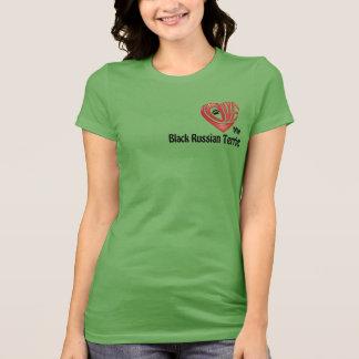 T-tröjaKvinna kärlek min svart ryska Terrier Tee