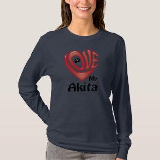 T-tröjalångärmadkvinnor: Älska min Akita T Shirt