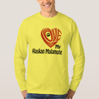 T-tröjalångärmadmanar: Älska min alaskabo Malamute Tröjor