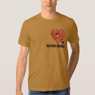 T-tröjamäns kärlek min australian shepherd t-shirt