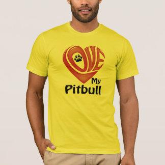 T-tröjamäns Kärlek min Pitbull T-shirt