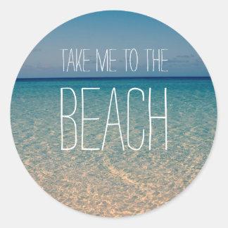 Ta mig till sanden för blå himmel för runt klistermärke