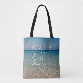 Ta mig till sanden för hav för blå himmel för tygkasse
