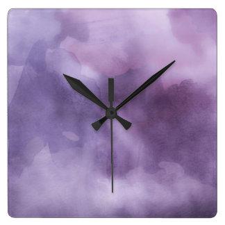 Ta tid på - den lila vattenfärgen fyrkantig klocka