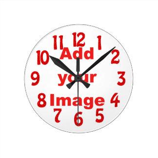 Ta tid på mallen - roligt rött - tillfogar ditt rund klocka