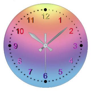 Ta tid på - regnbågefärger stor rund klocka