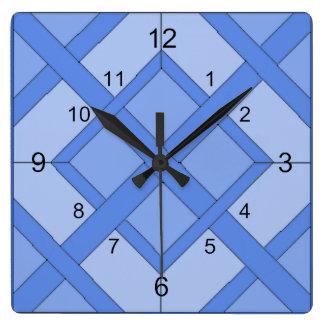Ta tid på - vävt samman kvadrerar i blått fyrkantig klocka