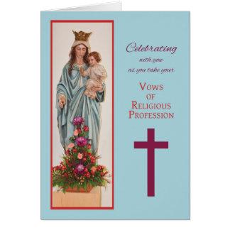 Ta Vows, nunna, Mary hållande baby Jesus med Flo Hälsningskort