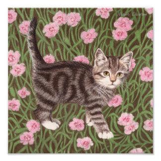 Tabby katt med nejlikor fototryck