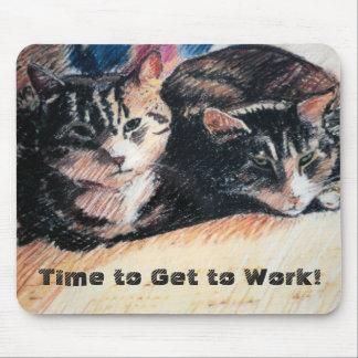 Tabby katt Time som fungerar Mousepad Musmatta