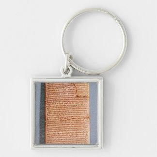 Tablet som förbinder ritualoffren fyrkantig silverfärgad nyckelring