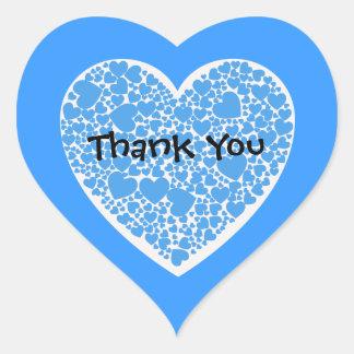 Tack-, blått- och vithjärtor hjärtklistermärken
